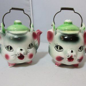 Vintage Teapot Cat Kitten Face S & P Shakers Japan